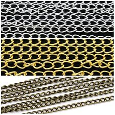 Jewellery Making Curb Chain 2M Gold & Silver Plated & Antique Bronze Metal Craft