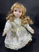 """8"""" Porcelain Doll With Stand - Victorian Dress"""