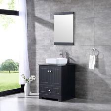 "24"" Bathroom Vanity Cabinet Glass Top w/ Ceramic Vessel Sink Mirror Combo Black"