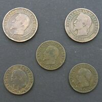 France 5, 10 Centimes Napoleon III 1853, 1854, 1855, 1861 Bronze Coin x 5