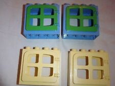 Lego Duplo Lot of 4 WINDOWS (2 blue & green, 2 Off White (really light yellow)