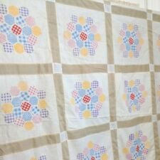 Vintage Cheater Quilt Top Colorful Gingham Fabric 73 x 102 Inches Flower Garden