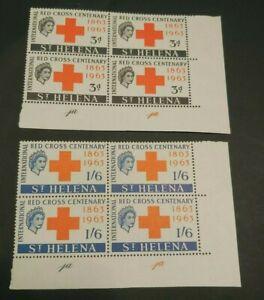 1963 RED CROSS SET CORNER BLOCKS VF MNH GB UK ST. HELENA WK2.22 START 0.99$