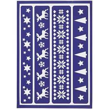 Flexible Adhesive Stencil Christmas Tree Snowflakes Reindeer Star Glass Wood Art