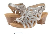 Josef Siebel Ruth 03 Cristal Metallic Open Toe Sandals 8.5 M EU 39 Leather