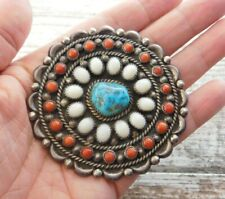 Vintage Old Pawn NAVAJO L Henderson Sterling Silver TURQUOISE Huge Pin / Pendant