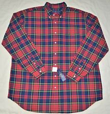 New 2XLT 2XL TALL POLO RALPH LAUREN Mens long sleeve oxford shirt red green 2XT