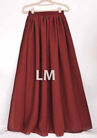 Women Maroon Maxi Skirts Lady Retro Elastic Waist Girl Jupe Dress Chiffon 2Layer