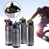 800ML Sport Water Flip Drinks Cycling Hiking Hydration Straw Bottle BPA Free UK