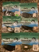 "6 New Packs Gary Yamamoto Fishing Lures 4"" Shad Shape Worm Drop Shot Worms 60ct"