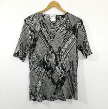 GERRY WEBER Stretch Top Shirt Sequins Black Off-White Size US 16 / UK 20 EUC