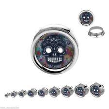 """PAIR-Sugar Skull Colorful Steel Screw On Plugs 14mm/9/16"""" Gauge Body Jewelry"""