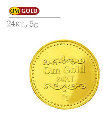 Om Gold 5 gm 24k(995) Purity Gold Coin - WITH TAX INVOICE