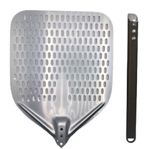 Pala pizza in alluminio forata 30x35cm - NUOVA - PROFESSIONALE - Argento/Marrone