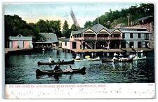 1905 Auburndale Boat House, on the Charles River, Auburndale, MA Postcard