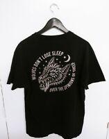 Vtg Sketchy Tank Wolves Black T-Shirt Size (L)