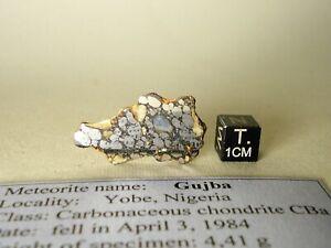 meteorite Gujba, CBa, only witnessed bencubbinite fall 1984, full slice 4,41 g