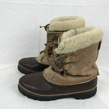 Sorel Womens Alpine Winter Snow Boots Size 9 Brown Leather Rubber