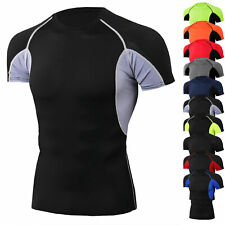 Men Compression Shirt Workout Short Sleeve Top Gym Quick-dry Running Workout Tee