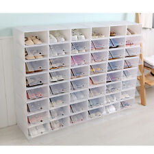 12-36PCS Stackable Foldable Shoe Box Storage Clear Plastic Transparent Organizer