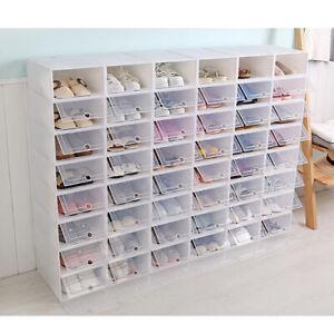 12-36PCS Stackable Foldable Shoe Box Storage Clear Plastic Transparent Organizer