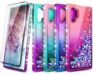 For Samsung Galaxy Note 10 / 10 Plus Liquid Glitter Phone Case +Screen Protector