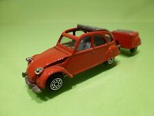 NOREV CITROEN 2CV + SPECIAL MADE TRAILER - RED 1:43 - GOOD CONDITION