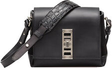 PROENZA SCHOULER Ps Elliot Black Leather Suede Cross Body Messenger Bag Purse