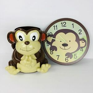 Monkey Resin Garbage Can and Matching Wood Clock Monkey Waste