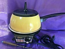 Vintage OSTER Electric Fondue Harvest Gold, Made in USA!  Very Good cond 2 forks