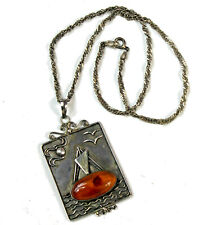 Amber Sterling Sailboat Pendant Necklace 925 Silver on 15in Chain Vintage Gift