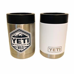 YETI Rambler Colster Can Insulator Koozie Set of 2 Stainless White 12 oz EUC!