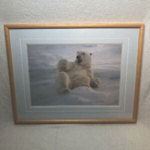Thomas Mangelsen Limited Ed Framed Feels Good Polar Bear Print Sold Out 899/950