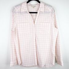 Maison Jules Button Up Shirt Pink White Blouse Top Shirt Size Large Womens