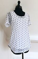 Pretty Women's Sheer White/Navy Polka Dot Top By B Young. Size Large (16). VGC