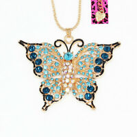 Betsey Johnson Jewelry Crystal Butterfly Pendant Sweater Chain Women's Necklace