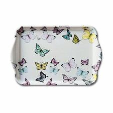 BUTTERFLY BUTTERFLIES PINK YELLOW GREEN BLUE CREAM TRINKET TRAY 21CM X 13CM