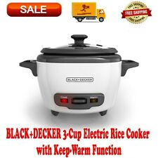 Black+Decker 3-Cup Electric Rice Cooker with Keep-Warm Function White, Nonstick