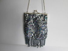 SEQUIN BEADED EVENING BAG HANDBAG PARTY AURORA MOTHER OF PEARL IRRIDESCENT
