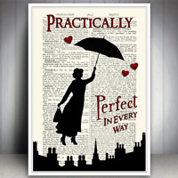 MARY POPPINS PRACTICALLY PERFECT QUOTE ART PRINT DICTIONARY STYLE PICTURE POSTER