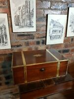 ANTIQUE GEORGIAN ROSEWOOD BRASS OFFICERS MILITARY CAMPAIGN WRITING SLOPE BOX