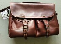 TUSTING messenger leather briefcase made in England