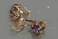 veax013 Org. Russian rose Soviet gold Amazing HANDCRAFT Alexandrite earrings!