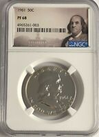 1961 P NGC PF68 PROOF SILVER BEN FRANKLIN HALF DOLLAR 50c 90% FRANKLIN LABEL