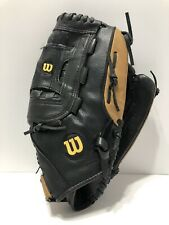 "Wilson A2444 Softball Glove 14"" Top Grade Leather Black & Brown Right Hand Throw"