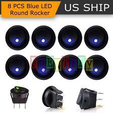 8PCS Blue LED Dot Light 12V Car Auto Boat Round Rocker ON/OFF TOGGLE SPST SWITCH