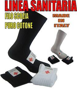 6 PAIA CALZE CORTE SANITARIE UOMO CALZINI 100% COTONE FILO SCOZIA MADE IN ITALY