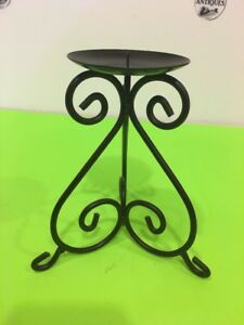 7'' Antique Dark Bronze Finish Wrought Iron Scroll Work Pillar Stand Scroll Work