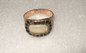 Antique Mourning Georgian CE 1806 Huffam Blond Hair Gold 10K Rose Gold Ring