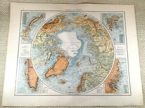 1906 Antique Map of The North Pole Polar Region Arctic Old LARGE GERMAN Colour